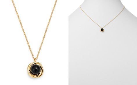 """Bloomingdale's Onyx Swirl Pendant Necklace in 14K Yellow Gold, 18"""" - 100% Exclusive _2"""