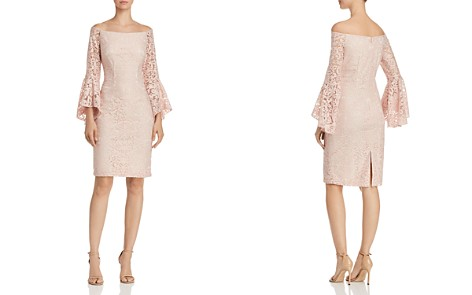 Avery G Off-the-Shoulder Bell-Sleeve Lace Sheath Dress - Bloomingdale's_2