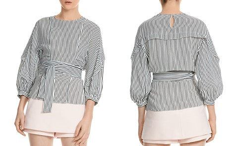 Maje Loxy Striped Smocked Top - Bloomingdale's_2