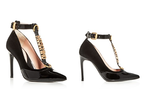 Moschino Women's Velvet & Patent Leather T-Strap Pumps - Bloomingdale's_2