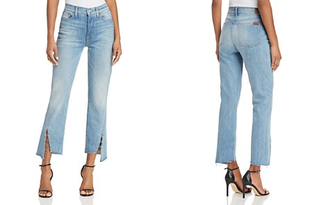 7 For All Mankind Edie Ring-Detail Straight Jeans in Light Riviera - Bloomingdale's_2
