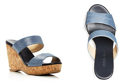 Jimmy Choo Women's Parker 100 Denim Cork Wedge Slide Sandals - Bloomingdale's_2