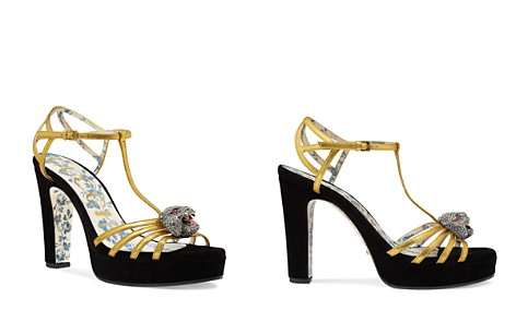 Gucci Women's Elias Leather & Velvet T-Strap Platform Sandals - Bloomingdale's_2