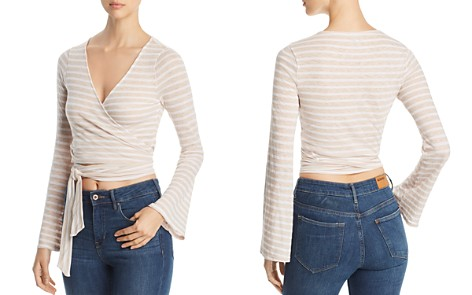 Three Dots Saguaro Cropped Striped Wrap Top - Bloomingdale's_2