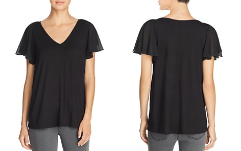 Kim & Cami Mixed-Media Flutter-Sleeve Top - Bloomingdale's_2
