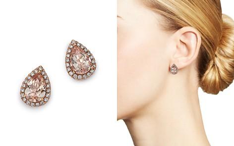 Bloomingdale's Morganite Teardrop & Diamond Stud Earrings in 14K Rose Gold -100% Exclusive _2