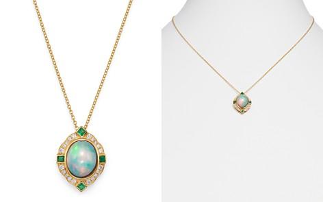 "Bloomingdale's Ethiopian Opal, Emerald & Diamond Pendant Necklace in 14K Yellow Gold, 18"" - 100% Exclusive _2"