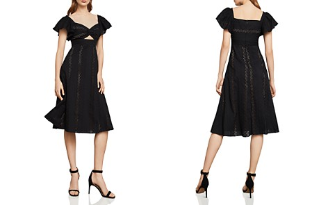 BCBGMAXAZRIA Eyelet Fit-And-Flare Midi Dress - Bloomingdale's_2