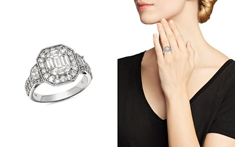 Bloomingdale's Diamond Mosaic & Halo Milgrain Ring in 14K White Gold, 2.0 ct. t.w. - 100% Exclusive _2