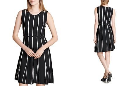 Calvin Klein Striped Mesh Godet Dress - Bloomingdale's_2