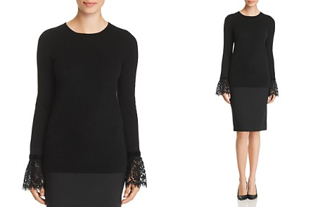 C by Bloomingdale's Lace-Cuff Cashmere Sweater - 100% Exclusive _2