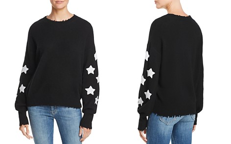 AQUA Cashmere Star-Sleeve Distressed Cashmere Sweater - 100% Exclusive - Bloomingdale's_2