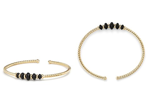 David Yurman Rio Rondelle Cabled Cuff Bracelet with Black Onyx in 18K Gold - Bloomingdale's_2