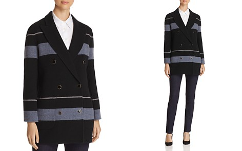Emporio Armani Striped Double Breasted Wool & Cashmere Peacoat - Bloomingdale's_2