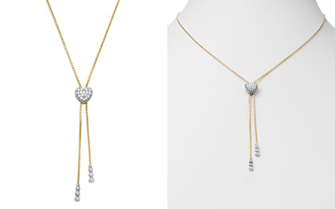Bloomingdale's Diamond Heart Bolo Necklace in 14K White & Yellow Gold, 0.45 ct. t.w. - 100% Exclusive _2