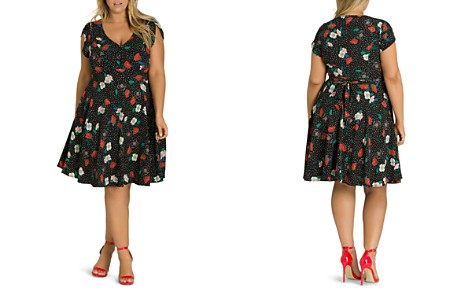 City Chic Plus Dotted Floral Dress - Bloomingdale's_2