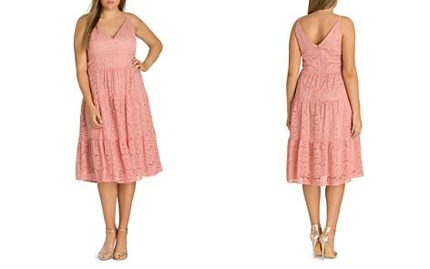 City Chic Plus Sweet Kiss Ruffled Lace Dress - Bloomingdale's_2