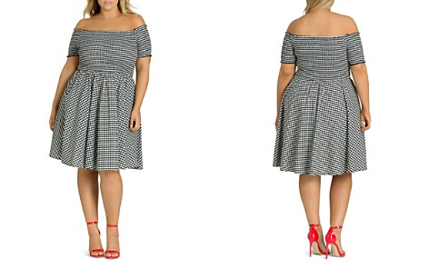 City Chic Plus Smocked Gingham Off-the-Shoulder Dress - Bloomingdale's_2