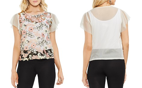 VINCE CAMUTO Sheer Sequined Floral Top - Bloomingdale's_2