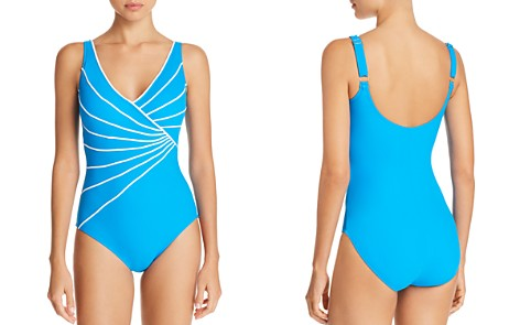 Gottex Sinatra Piped Crossover V-Neck One Piece Swimsuit - Bloomingdale's_2