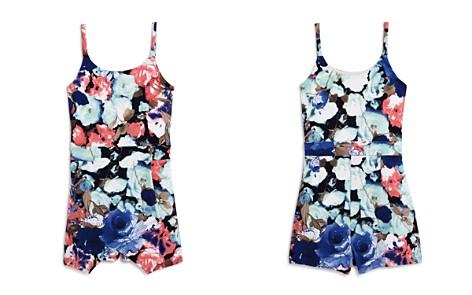 AQUA Girls' Textured Floral Ponte Romper, Big Kid - 100% Exclusive - Bloomingdale's_2