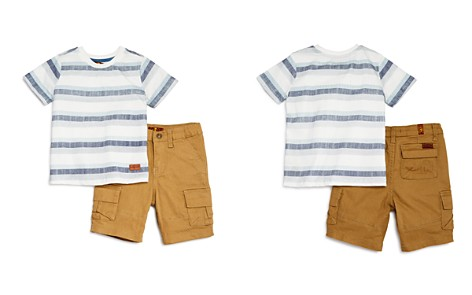 7 For All Mankind Boys' Striped Tee & Twill Shorts Set - Little Kid - Bloomingdale's_2
