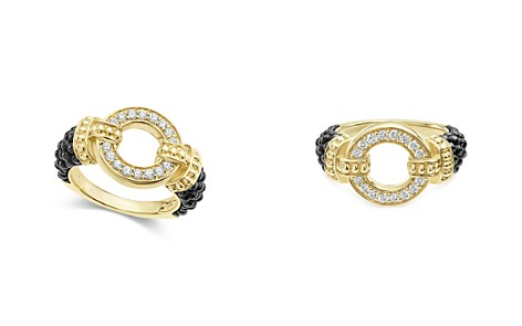 LAGOS Circle Game Black Caviar Ceramic Ring with Diamonds and 18K Gold - Bloomingdale's_2