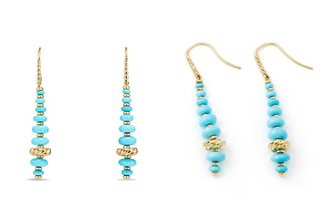 David Yurman Rio Rondelle Drop Earrings with Turquoise in 18K Gold - Bloomingdale's_2