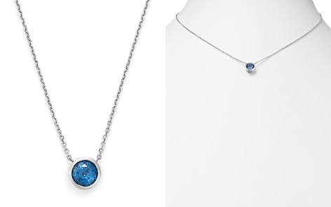 "Bloomingdale's Blue Sapphire Bezel Pendant Necklace in 14K White Gold, 16"" - 100% Exclusive _2"