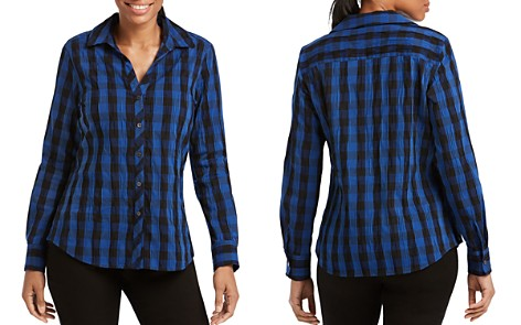 Foxcroft Crinkled Buffalo Check Top - Bloomingdale's_2