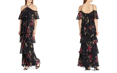 Lauren Ralph Tiered Cold Shoulder Floral Gown