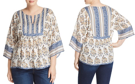 Lucky Brand Plus Mixed Print Peasant Top - Bloomingdale's_2