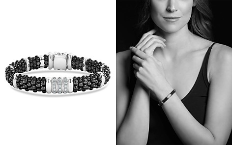 LAGOS Sterling Silver Black Caviar Collection Pavé Diamond & Black Ceramic Station Bracelet - Bloomingdale's_2