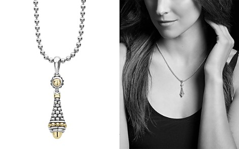 """LAGOS 18K Yellow Gold & Sterling Silver Signature Caviar Drop Pendant Adjustable Necklace, 16""""-18"""" - Bloomingdale's_2"""