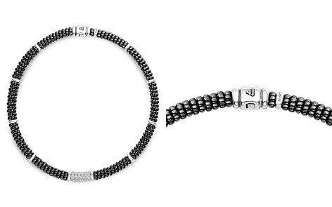 "LAGOS Sterling Silver Black Caviar Collection Six-Bar Station Diamond & Black Ceramic Necklace, 16"" - Bloomingdale's_2"