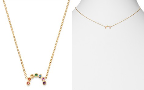 "Zoë Chicco 14K Yellow Gold Rainbow Sapphire Small Arc Pendant Adjustable Necklace, 14""-16"" - Bloomingdale's_2"