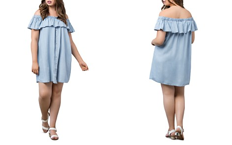 B Collection by Bobeau Curvy Rosie Chambray Off-the-Shoulder Dress - Bloomingdale's_2