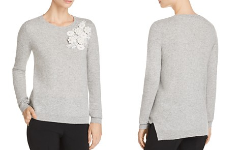 Badgley Mischka Floral-Appliqué Cashmere Sweater - Bloomingdale's_2
