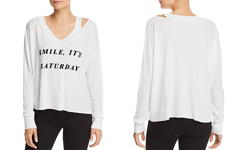 WILDFOX Smile It's Saturday Waffle-Knit Tee - Bloomingdale's_2