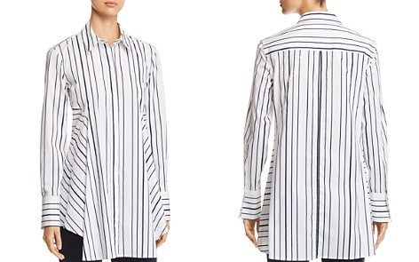 Donna Karan New York Striped Button-Down Flare Top - Bloomingdale's_2