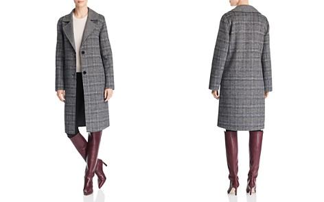 Bernardo Contrast Collar Plaid Coat - Bloomingdale's_2
