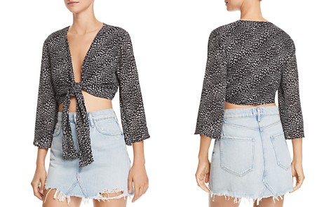 FORE Mini-Leopard Tie-Front Cropped Top - Bloomingdale's_2