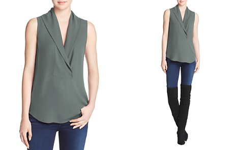 Theory Shawl Collar Silk Top - Bloomingdale's_2