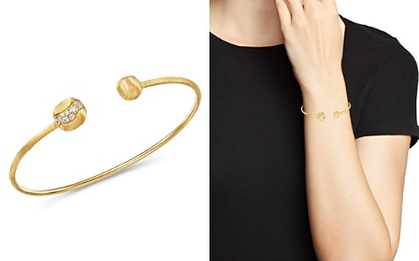 Marco Bicego 18K Yellow Gold Africa Pavé Diamond Delicate Kissing Bangle - Bloomingdale's_2