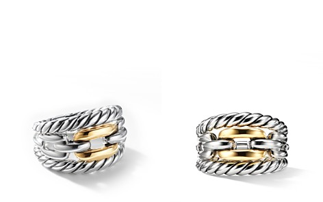 David Yurman Wellesley Link Three-Row Ring in Sterling Silver with 18K Yellow Gold - Bloomingdale's_2