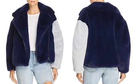 Heurueh Color-Block Faux-Fur Moto Jacket - Bloomingdale's_2