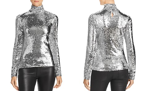 MILLY Sequined Mock Neck Top - Bloomingdale's_2