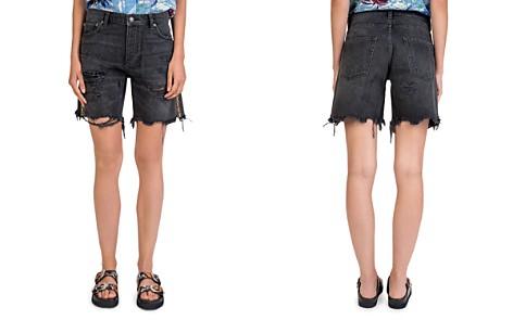 The Kooples Jewel-Trim Distressed Denim Shorts in Washed Black - Bloomingdale's_2