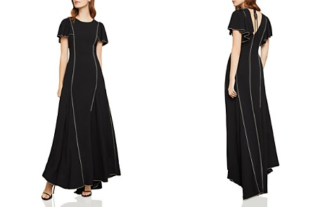 BCBGMAXAZRIA Piped Flutter-Sleeve Gown - Bloomingdale's_2