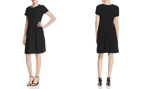 KARL LAGERFELD Faux Pearl-Trimmed A-Line Dress - Bloomingdale's_2